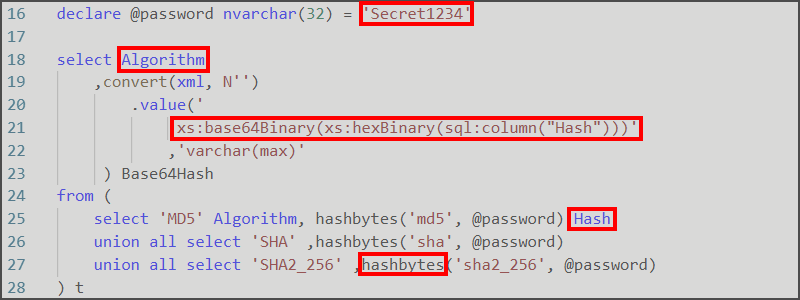Hashing values in SQLServer